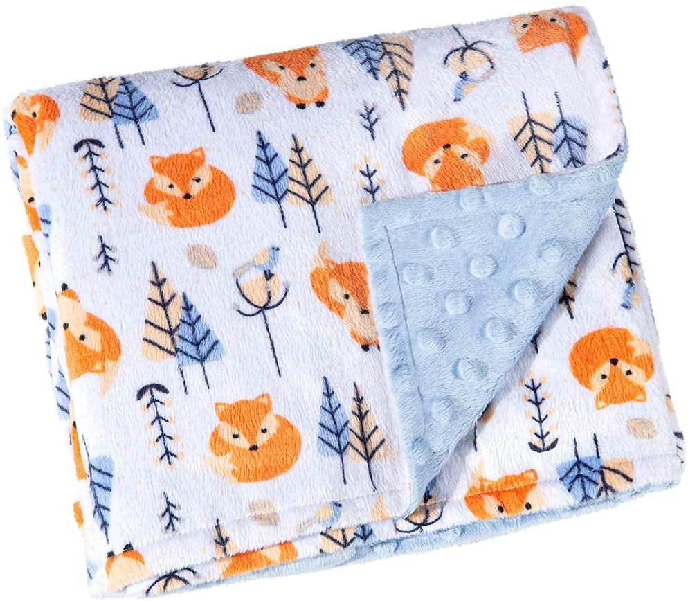 AdonisUSA Fleece Baby Blanket Stroller Crib Blanket Double Sided Printed and Textured (Blue with Fox)