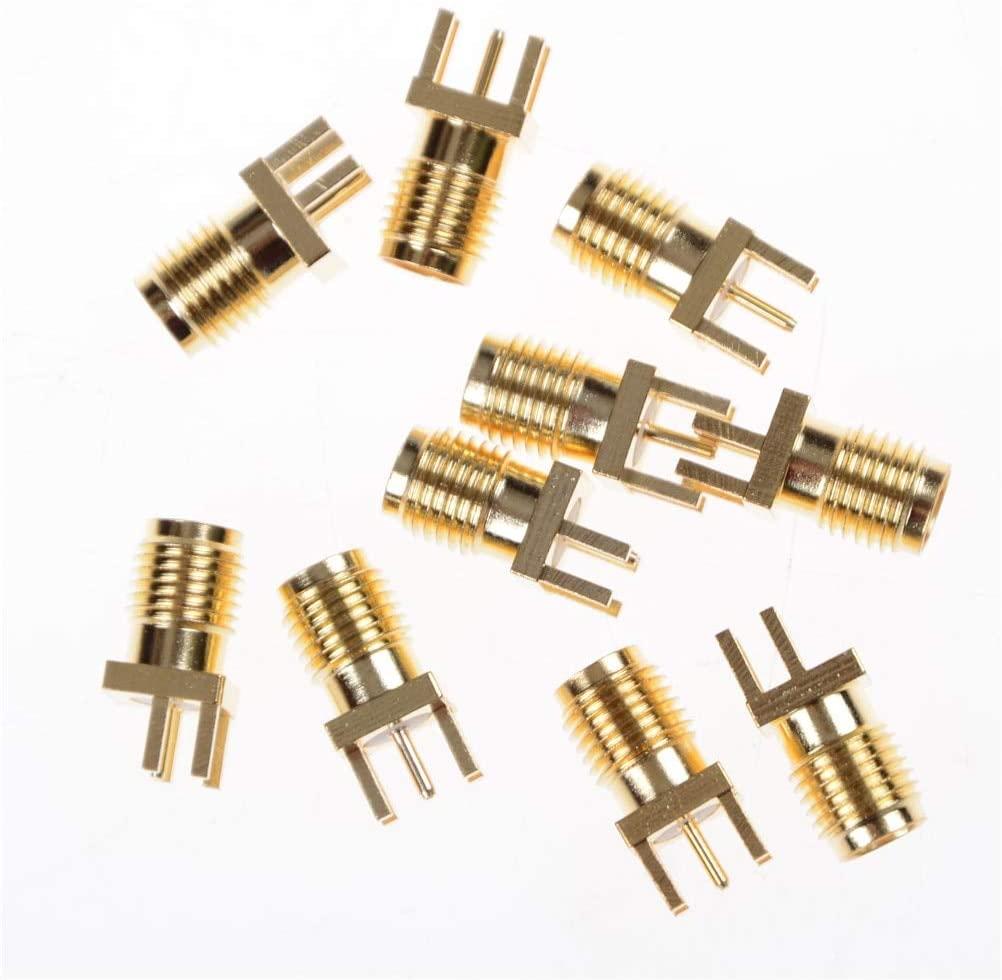 Davitu Electrical Equipments Supplies 0.062 SMA Female PCB Edge Mount RF Solder Adapters SMA Female Jack Receptacle Solder 10PCS