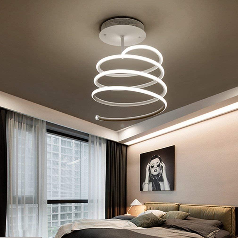 BOSSLV Ceiling Light Modern Spiral Design Ceiling Lamp Creative Minimalist Metal Acrylic Chandelier Indoor Decorative Lighting Fixture for Parlor Bedchamber Corridor Remote Control 72W