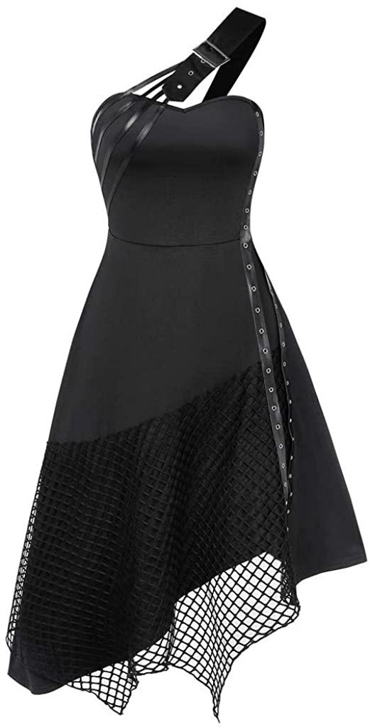 Xinantime Womens Hipster Belt Style Shoulder Strap Dress Sleeveless Gothic Vintage Halloween Irregular Stitching Dress