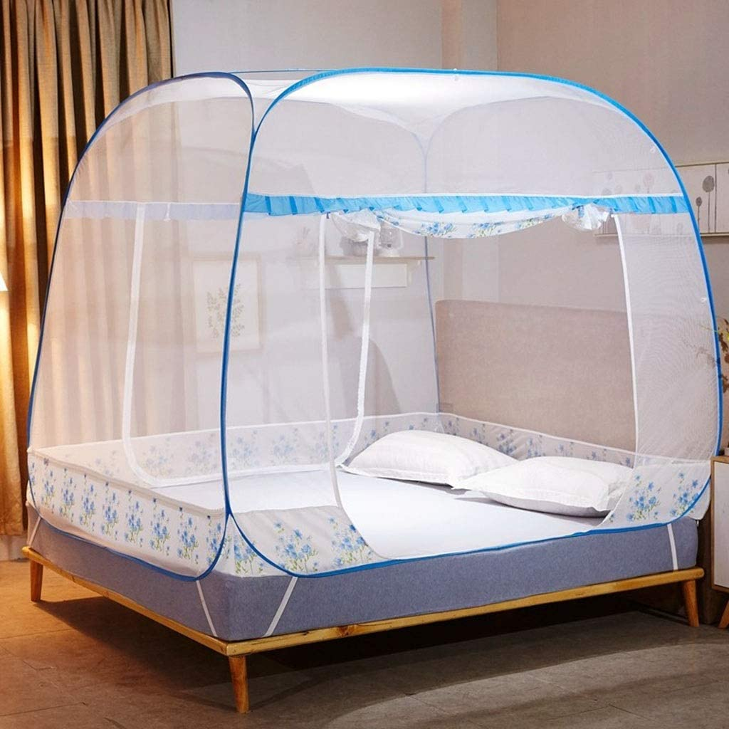 Home Textile Mosquito Net Three-Door Square Top Steel Wire Mosquito Net 1.5m/1.8m Bed Zipper Mosquito Net (Color : Blue, Size : 1.8x2.0m Bed)