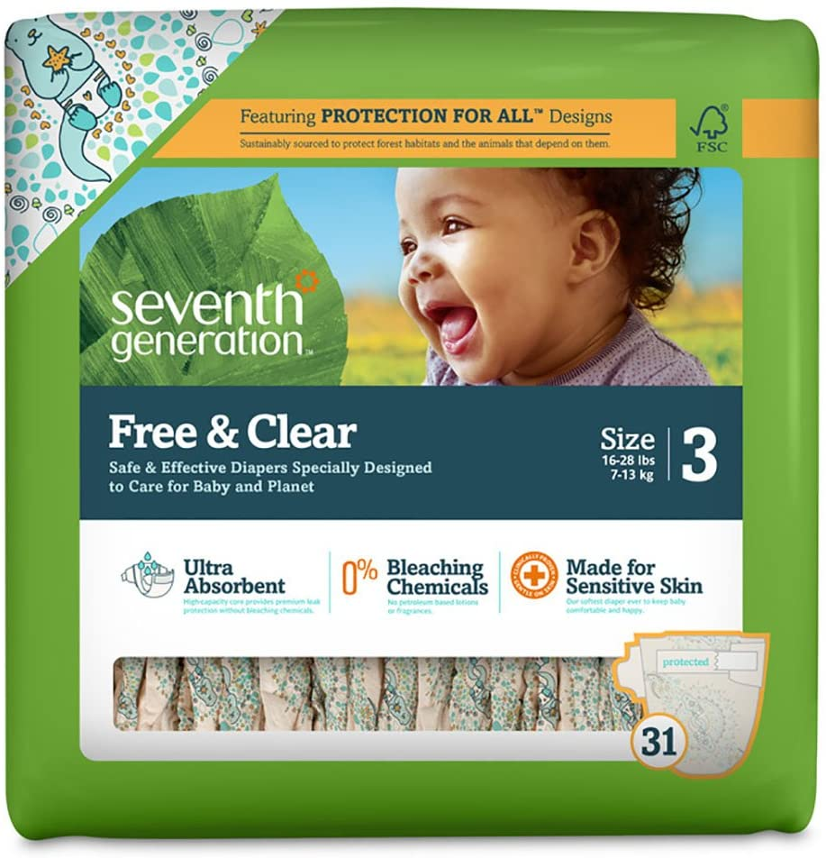 Seventh Generation Free & Clear Sensitive Skin Baby Diapers, Size 3, 31 ct
