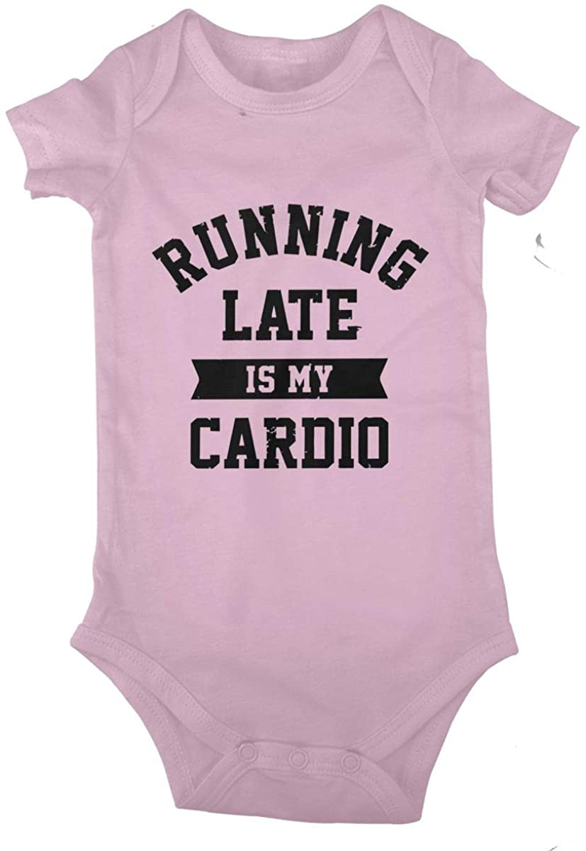 Running Late is My Cardio Cotton Baby Short Sleeve Bodysuits Jersey Rompers