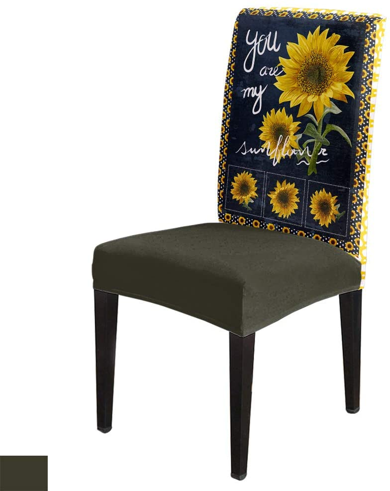 Sunflower Floral Framed -Removable Chair Covers Set Red Yellow Spandex Dining Chair Protector Slipcovers for Ceremony, Party, Restaurant, Hotel- 6 Pack