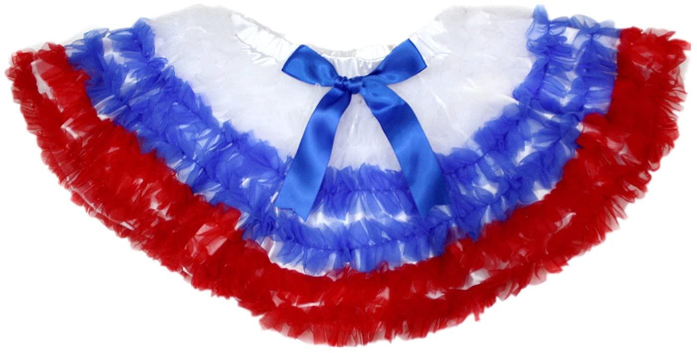 4th July White Royal Blue Red Ruffle Baby Girl Pettiskirt Tutu Nb-8y