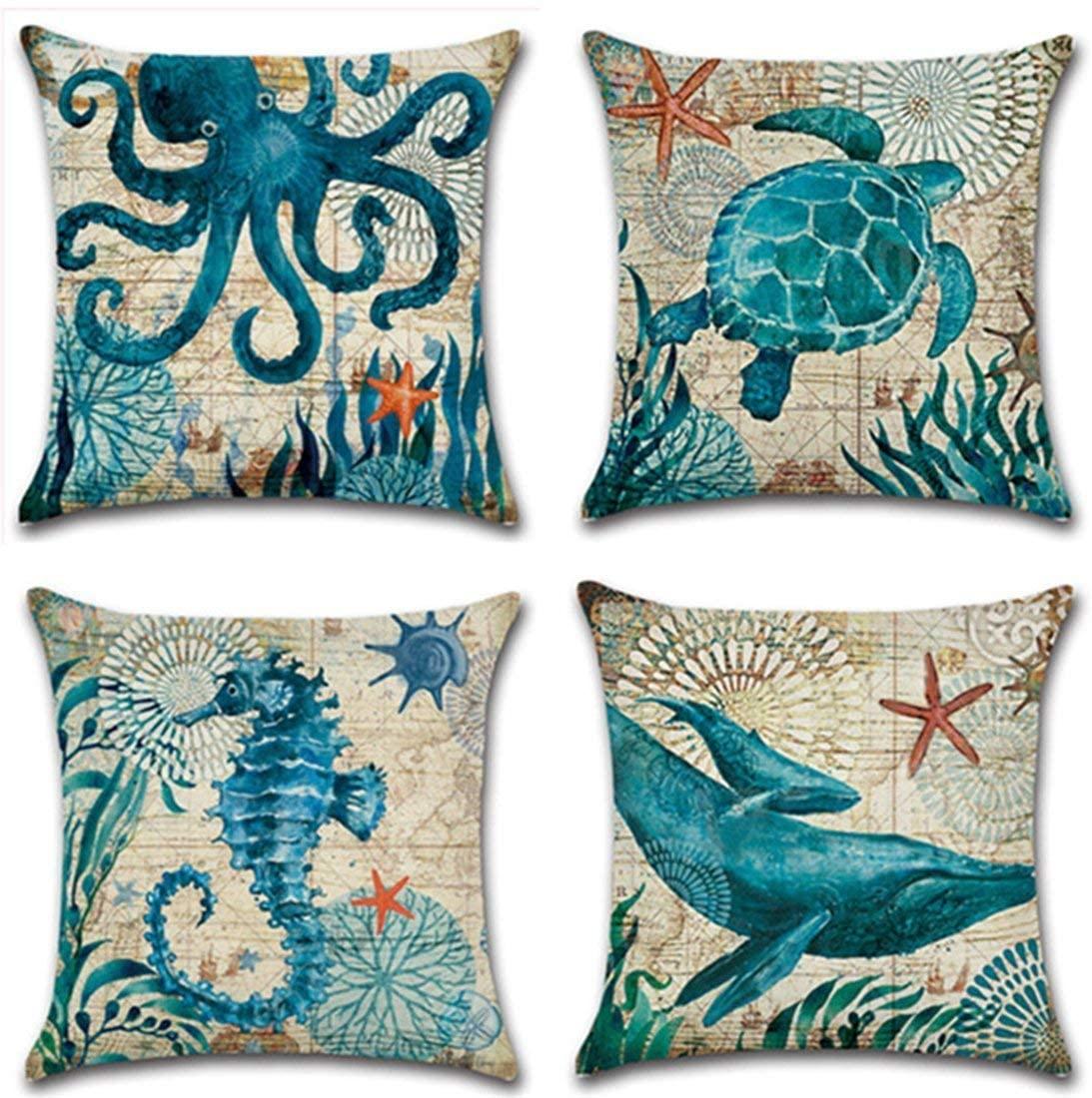 Granbey Turtle Octopus Whale Seahorse Coastal Throw Pillows Cover Nautical Style Ocean Theme Throw Pillow Covers Sea Decorative Square Linen Set of 4 18 x 18 Inch Mediterranean Pillowcases