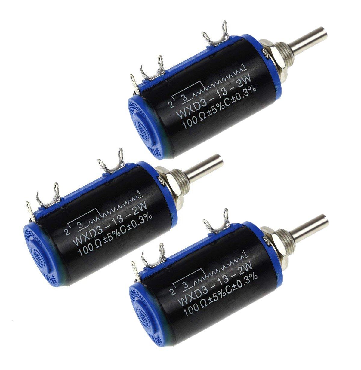 YXQ WXD3-13-2W 100 ohm Potentiometers MultiTurn Wirewound Control 5Pin, 4mm Drive Shaft Dia,5% Tolerance(3Pcs)