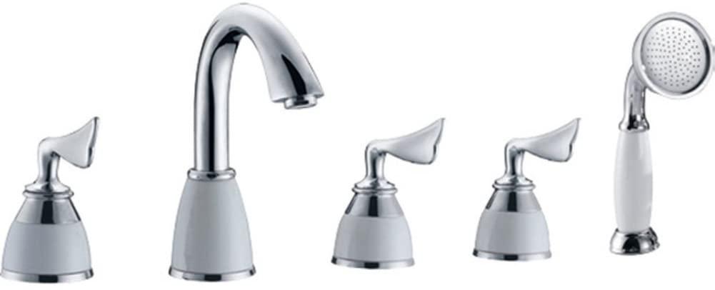 Copper Bathtub Five-Piece/Tank Side hot and Cold Faucet/Seated Five-Hole Bath Faucet Set-A