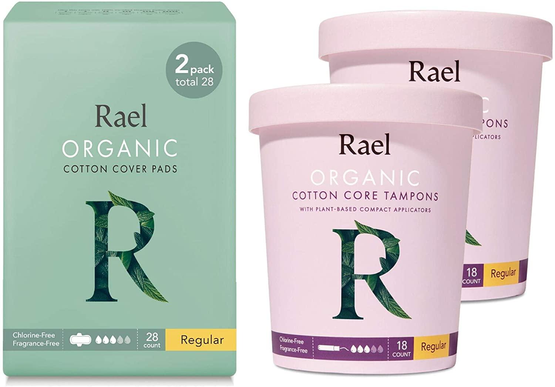 Rael Certified Organic Cotton Pads (Regular), Compact Plastic Applicator Tampons (Regular) Bundle