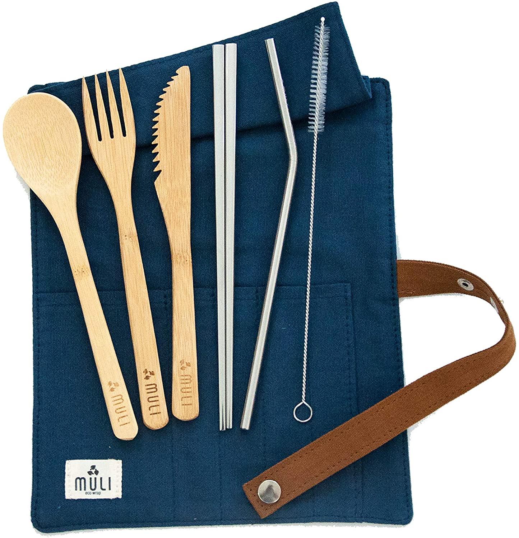 Muli Essential Reusable Bamboo Cutlery Set with Metal Chopsticks | Zero Waste Travel Utensil Set | Plastic-Free Flatware (Navy Blue)