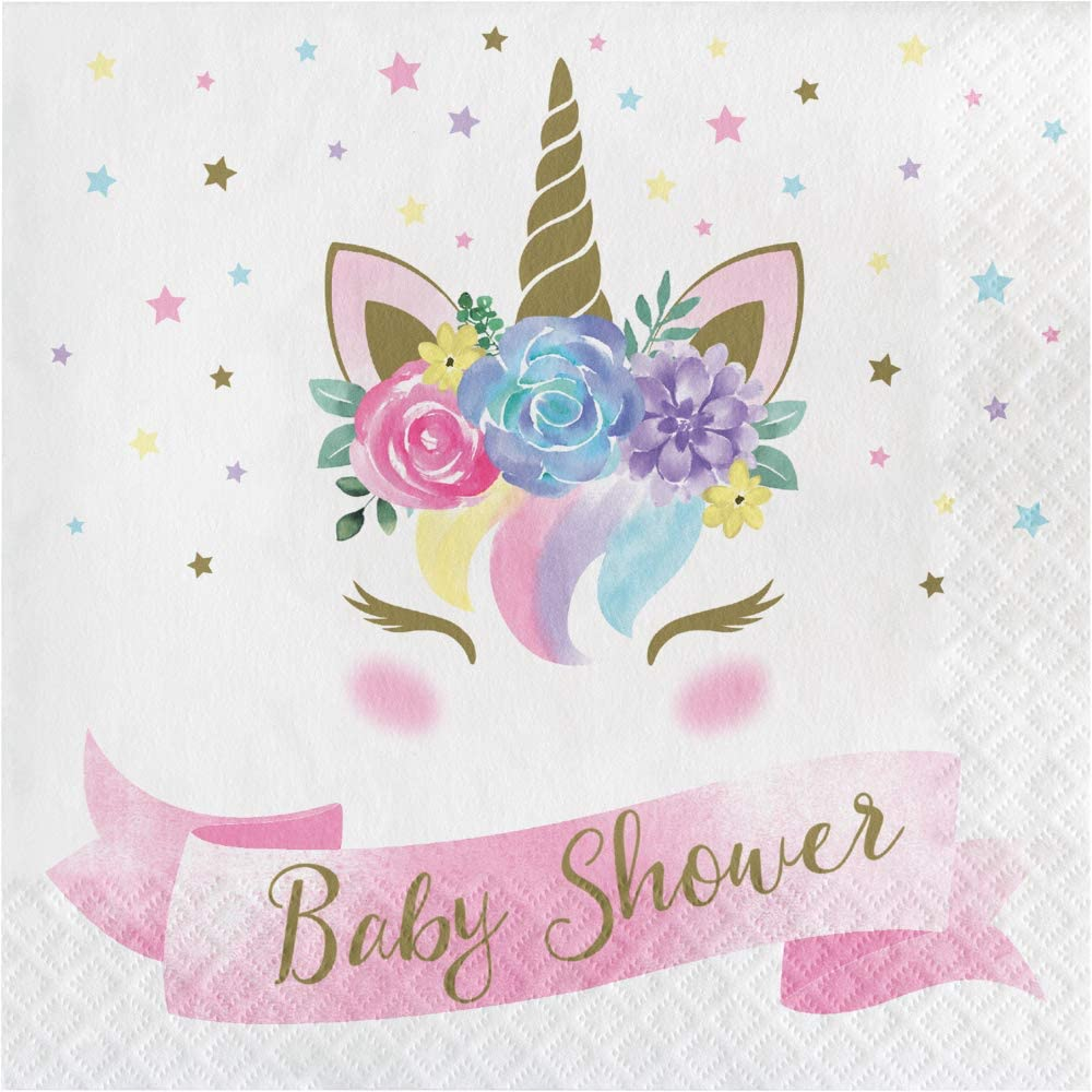 Creative Converting 343832 Unicorn Baby Shower Lunch Napkin, 16 Count, 6.5 inch, Multi-color