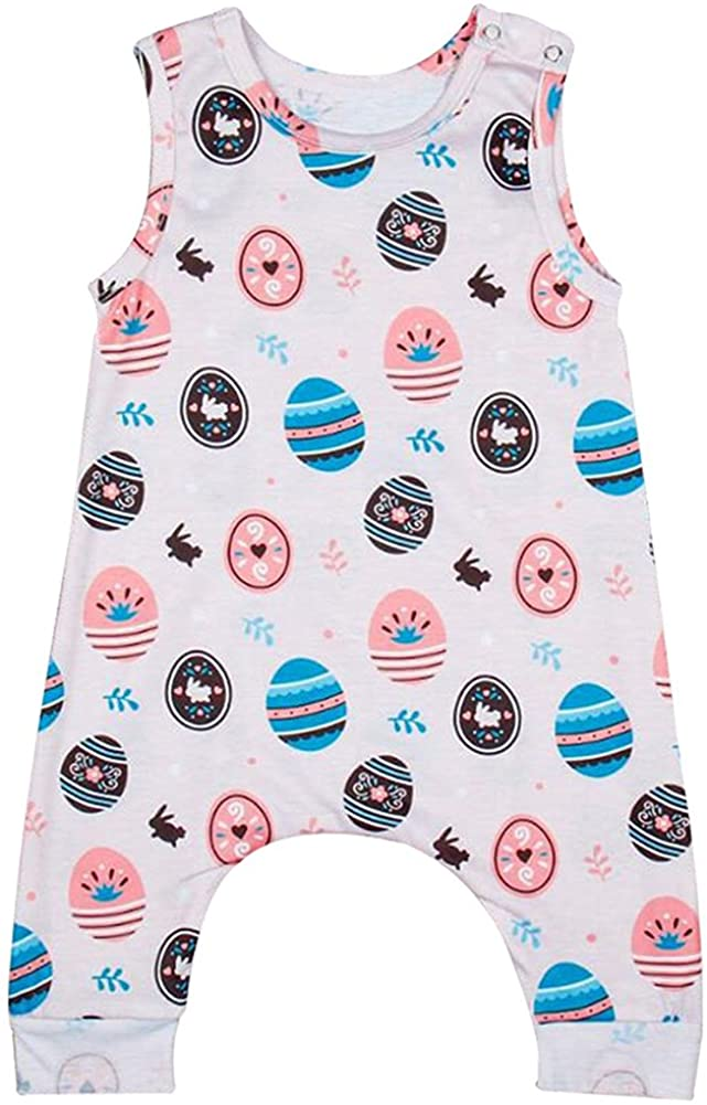 Collager Newborn Baby Boy Girls Easter Romper Sleeveless Cute Playsuit Outfits