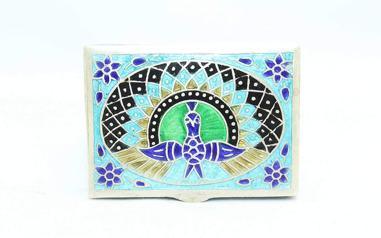 PH Artistic Handmade Trinket Box 925 Sterling Silver Peacock Bird Enamel Color Cloisonne - 1