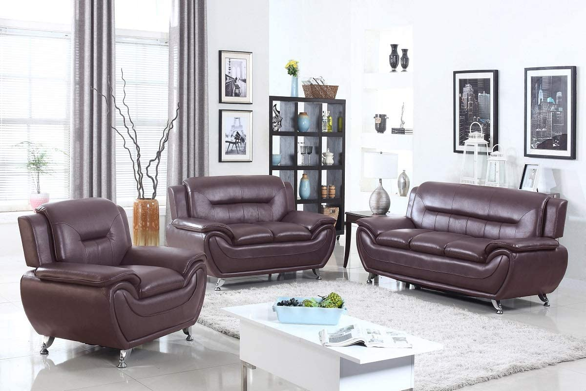 Hollywood Decor Cornesti 3 Pieces Living Room Sofa Set Upholstered in Faux Leather (Brown)