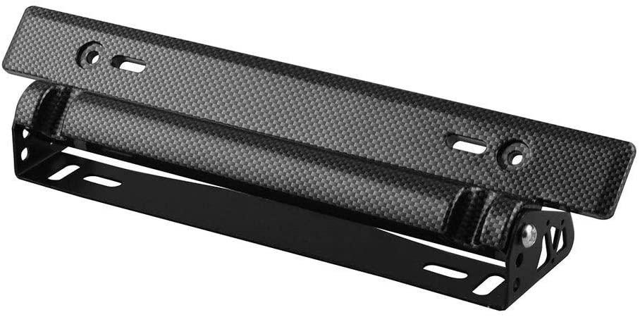 Bin Zhang Car modification accessories American carbon fiber license plate frame license plate frame adjustable license plate frame (Color : Black)
