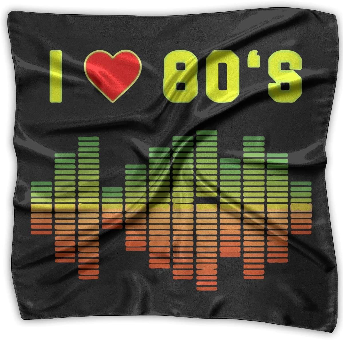 WFIRE I Love 80s Music Rock Equalizer Square Handkerchiefs Scarf Shawl Bandanas Headscarf Neckerchief