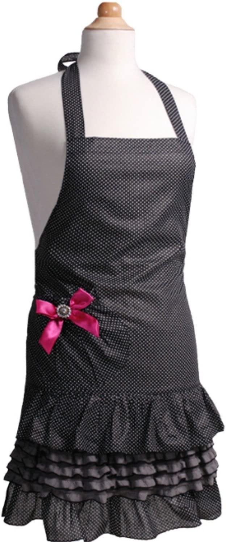 Flirty Aprons FA:GM-21003 Girls Apron, Black/White/Pink