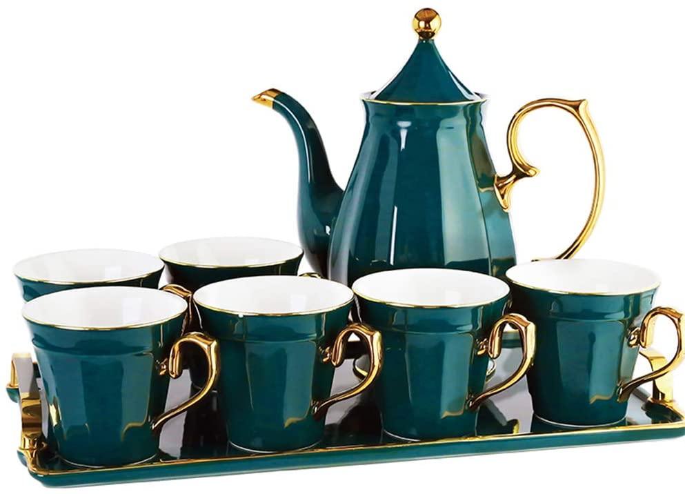 YQQWN 8 Piece Tea Set Cold Kettle Teapot Ceramic Coffee Set Flower Tea Set Porcelain Tea Set Porcelain with Lid, Large Capacity Comfortable Handle