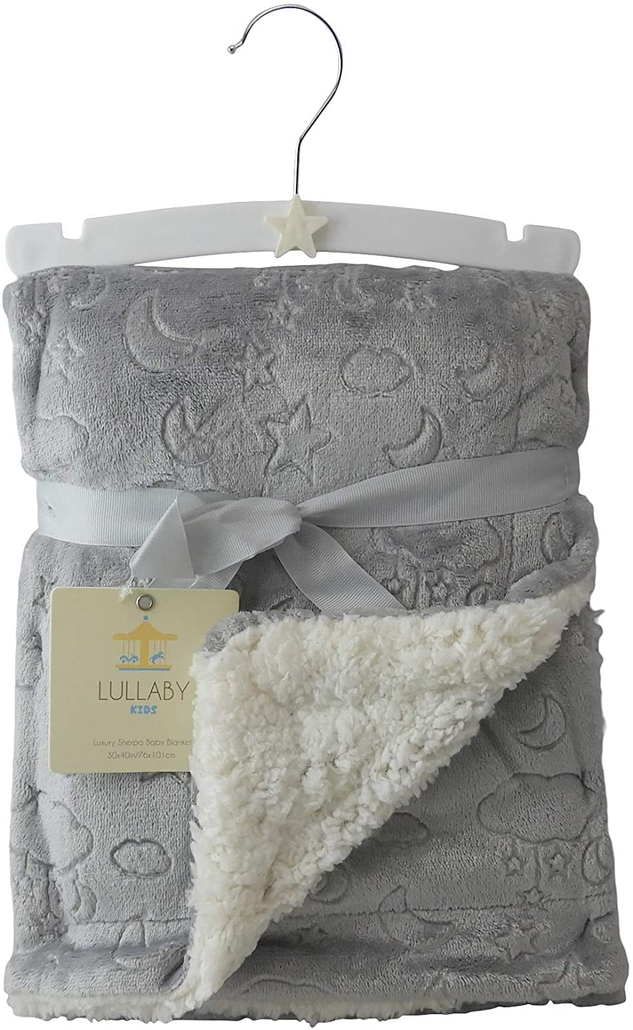 Dependable Lullaby Kids Luxury Clouds Stars Moon Etched Pattern Sherpa Baby Blanket (Silver)