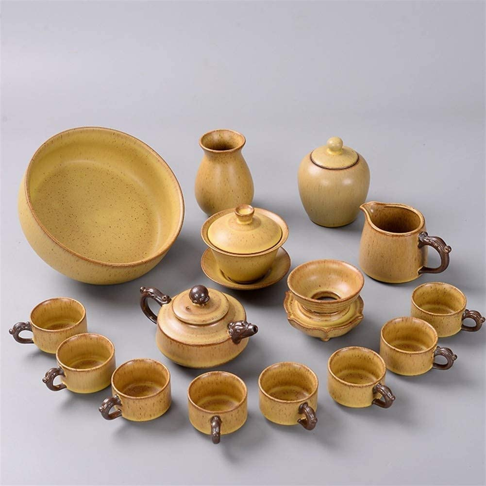 QinMei Zhou 15 Kung Fu Tea Set creative vintage wash earthenware covered tea pot business gifts tea (Color : (Ancient Pottery Yellow) Dragon Pot)