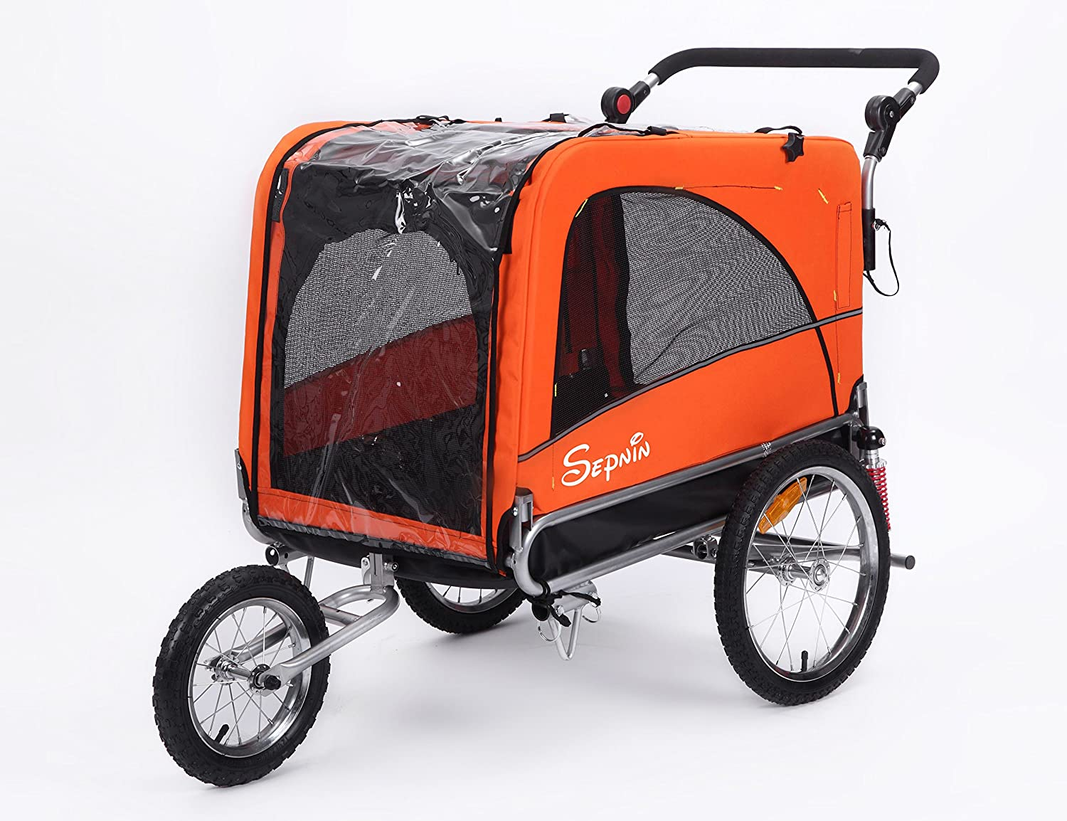 Sepnine 3 in 1 Luxury Large Sized Bike Trailer Bicycle Pet Trailer/Jogger/Dog Cage with Suspension 10308