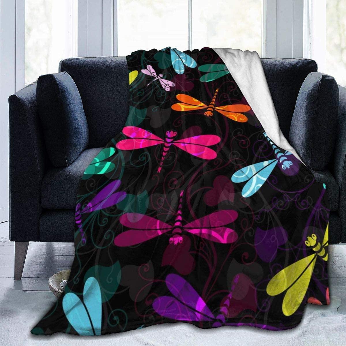 Micro Fleece Plush Soft Baby Blanket Damask Flower Dragonfly Animal Red Blue Green Black Fluffy Warm Toddler Bed/Crib Blanket Lightweight Flannel Daycare Nap Kids Sleeping Tummy Time Throw Blanket Gir