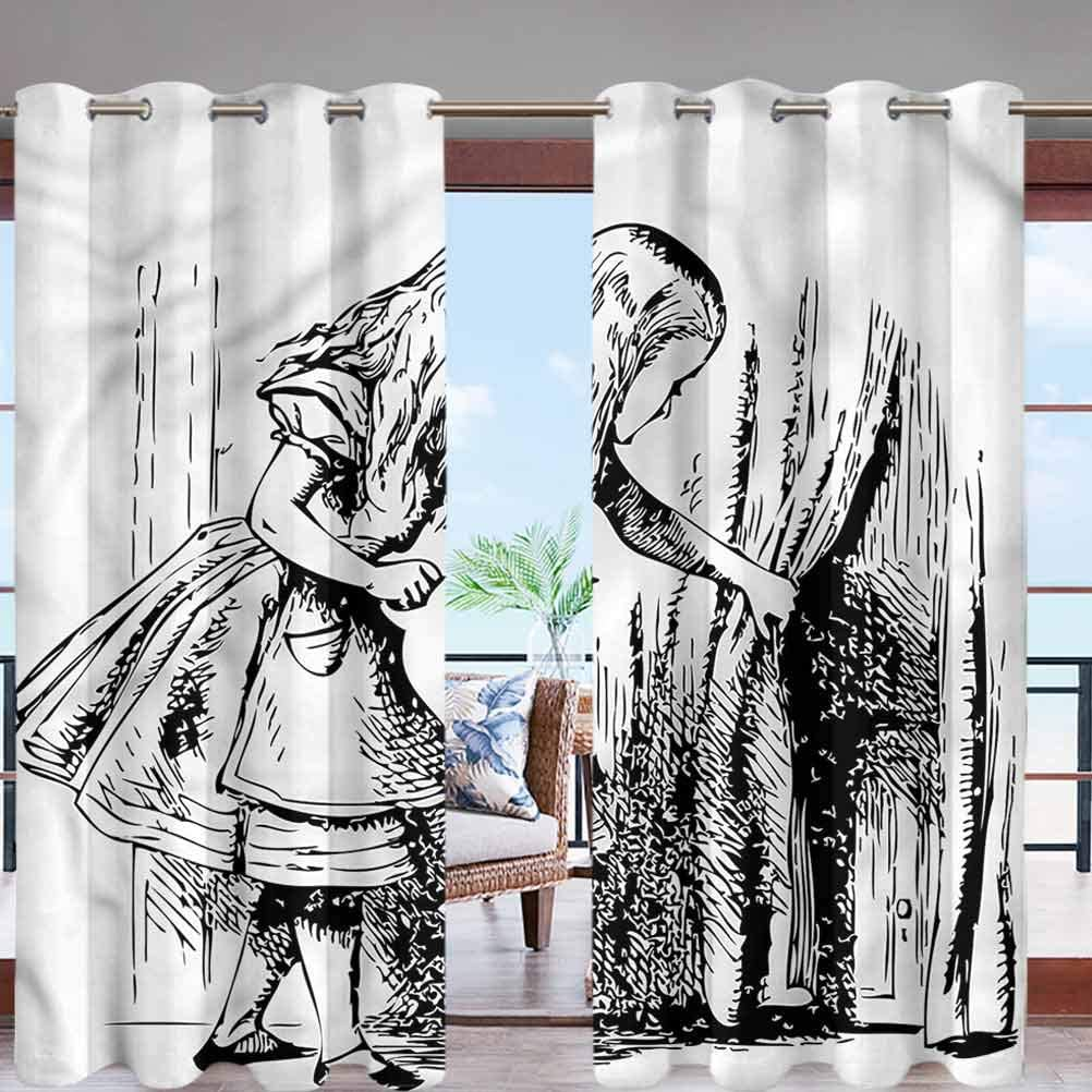MDOUWoo Sun Block Wind Prevention Grommet Top Curtain Panel Black and White W96 x L108 for Front Porch Lawn Corridor Patio Door