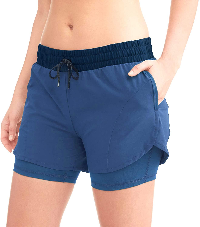Avia Women's 2fer Woven Running Short +Compression Layer & Pockets (2-Tone Blue, XS 0-2, Medium 8-10, Large 12-14, XL 16-18)