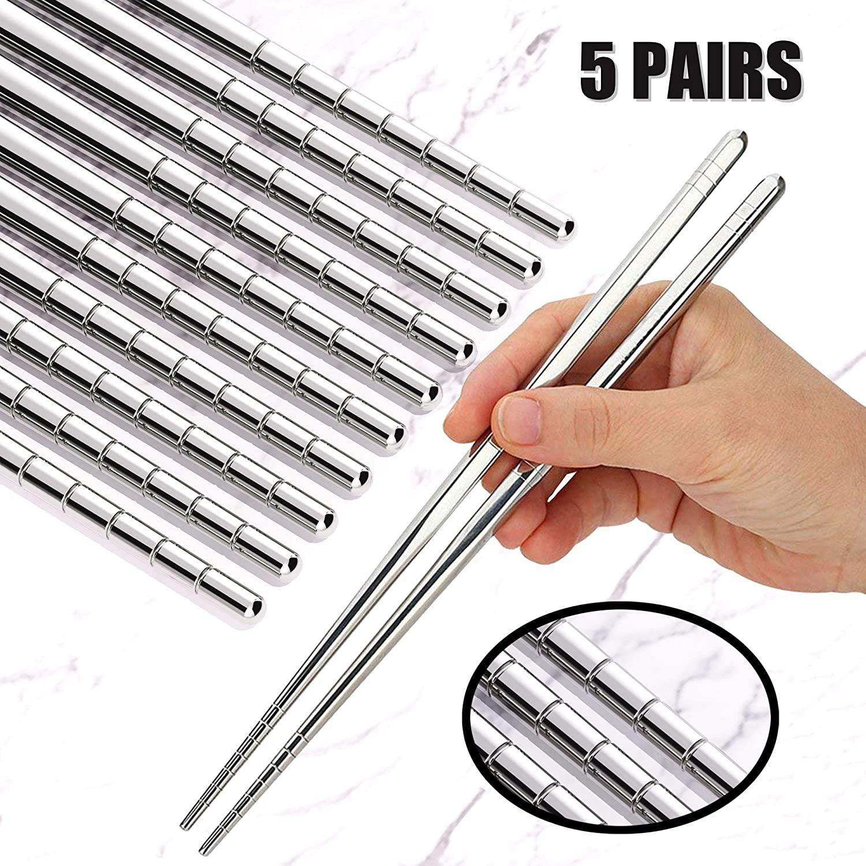 Omia 5 Pairs Premium Reusable Metal Stainless Steel Chopsticks Dishwasher Safe Lightweight Easy to Use Metal Chop Stick Utensils