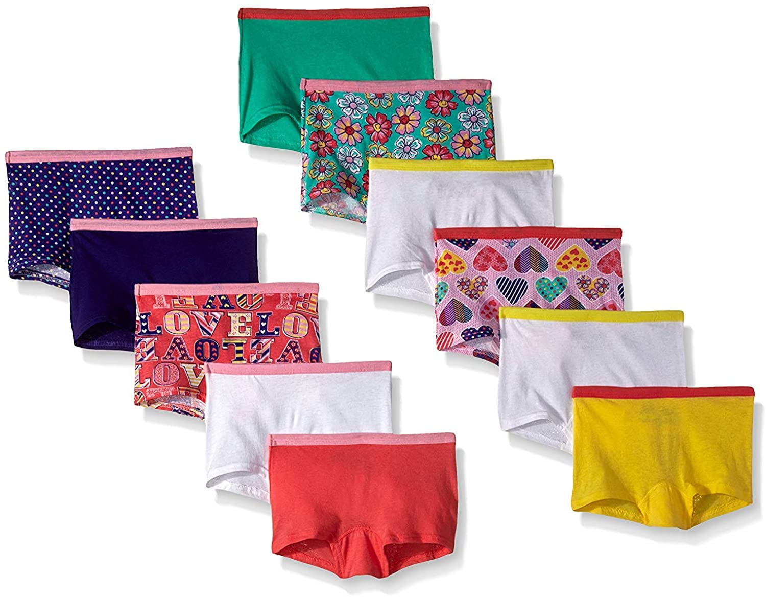 Fruit of the Loom Little Girls Assorted Boyshort (Pack of 11) (Size 6 (39-49 lbs. / Waist: 22), Assorted)
