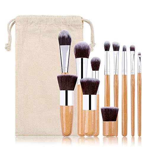 11Pcs Bamboo handle Makeup Brushes Set Eye Shadow Foundation Powder Eyelash Lip Make Up Brush Cosmetic Beauty tool Gunny bag (A)