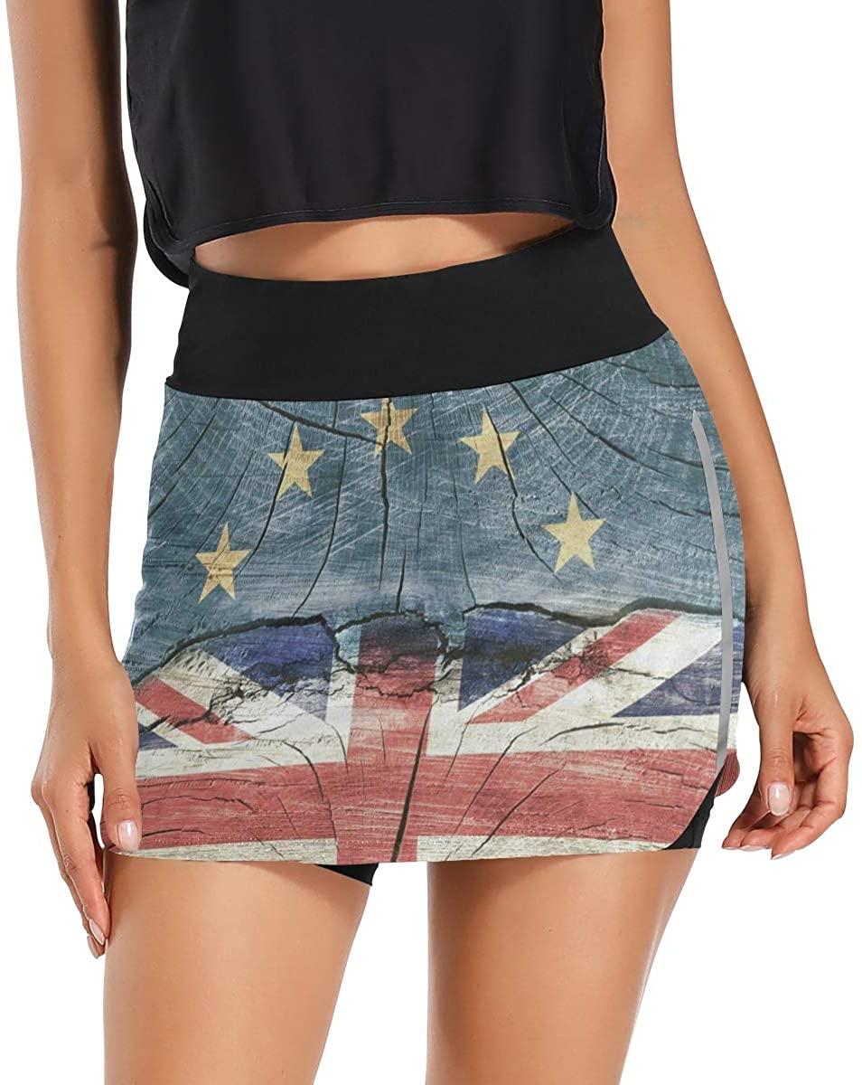Skorts Skirts for Women Vintage Union Jack Wooden Star Tennis Skirts with Pockets Inner Biker Shorts Workout