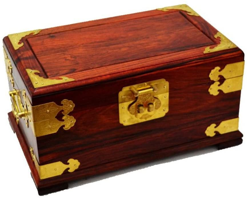 WODESHIJIE Old Mahogany red Rosewood Double Ornament Storage Box/Jewelry Boxes-B