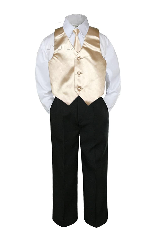 4pc Formal Baby Teen Boy Champagne Vest Necktie Black Pants Suits S-14 (10)