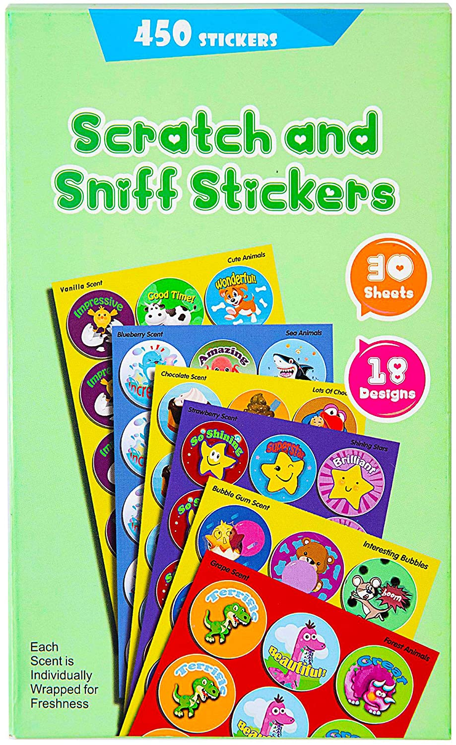Reward Stickers, 450 Stickers&30 Sheets 6 Different Designs Including Fishes and Animals,Kids&Teachers' Favorite Smelly Stickers,Christmas Stickers!