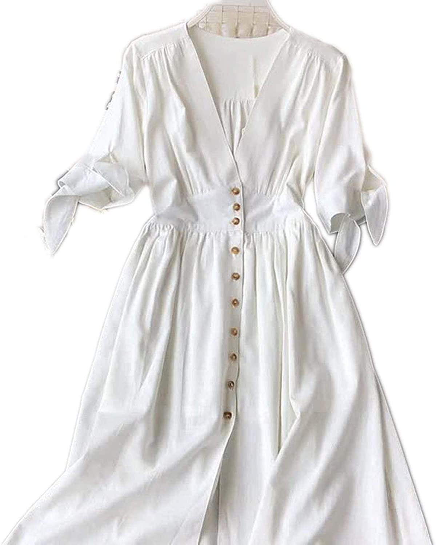 smile-bi Womens Retro V-Neck White Waist Dress Long Section Commuter Wind Dresses