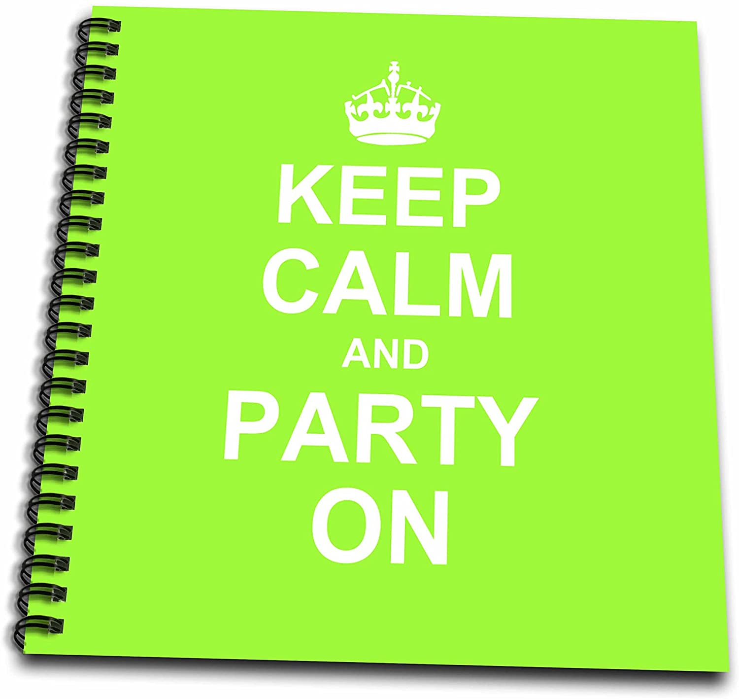 3dRose db_157749_1 Keep Calm and Party on Neon Green Carry on Partying Fun Party Animal Gift Humorous Drawing Book, 8 by 8-Inch