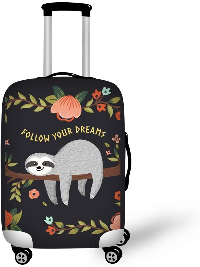 ShowudesignsFollow Your DreamsPrinting Luggage Cover Suitcase Protector Cover Spandex Sloth Flower Track Case Cover Size M