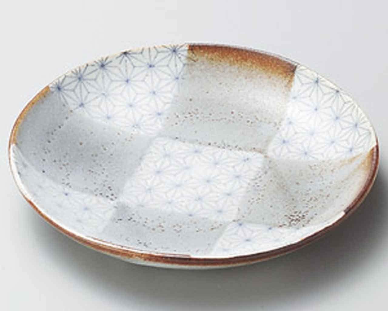Sashiko Ichimatsu 7.2inch Set of 5 Medium Plates White Ceramic Made in Japan