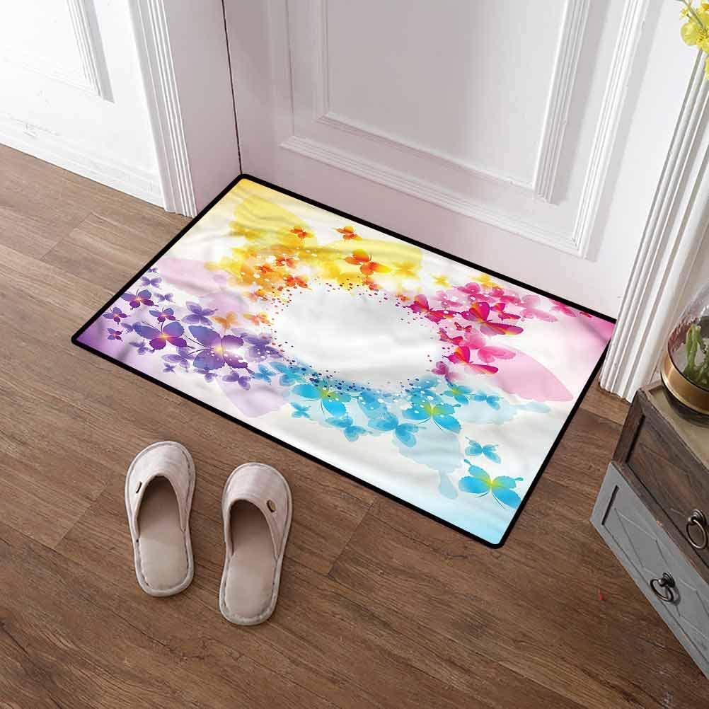 SCOCICI1588 Pet Mat Butterflies, Romantic Circular Form Durable Doormat Wear-Resistant Easy to Clean 31 x 47 Inch