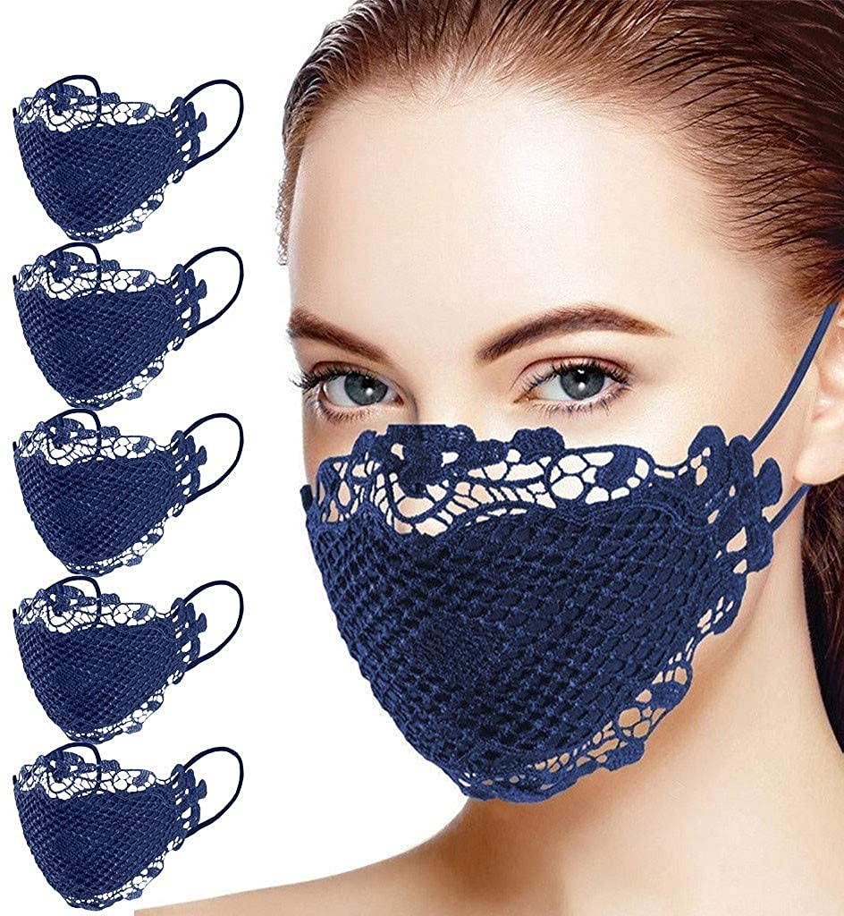 Fashion Womens Lace Face Protection Maks Resuable Washable,5 Pack Sexy Cute Anti Dust Face Fabric Mouth Protective