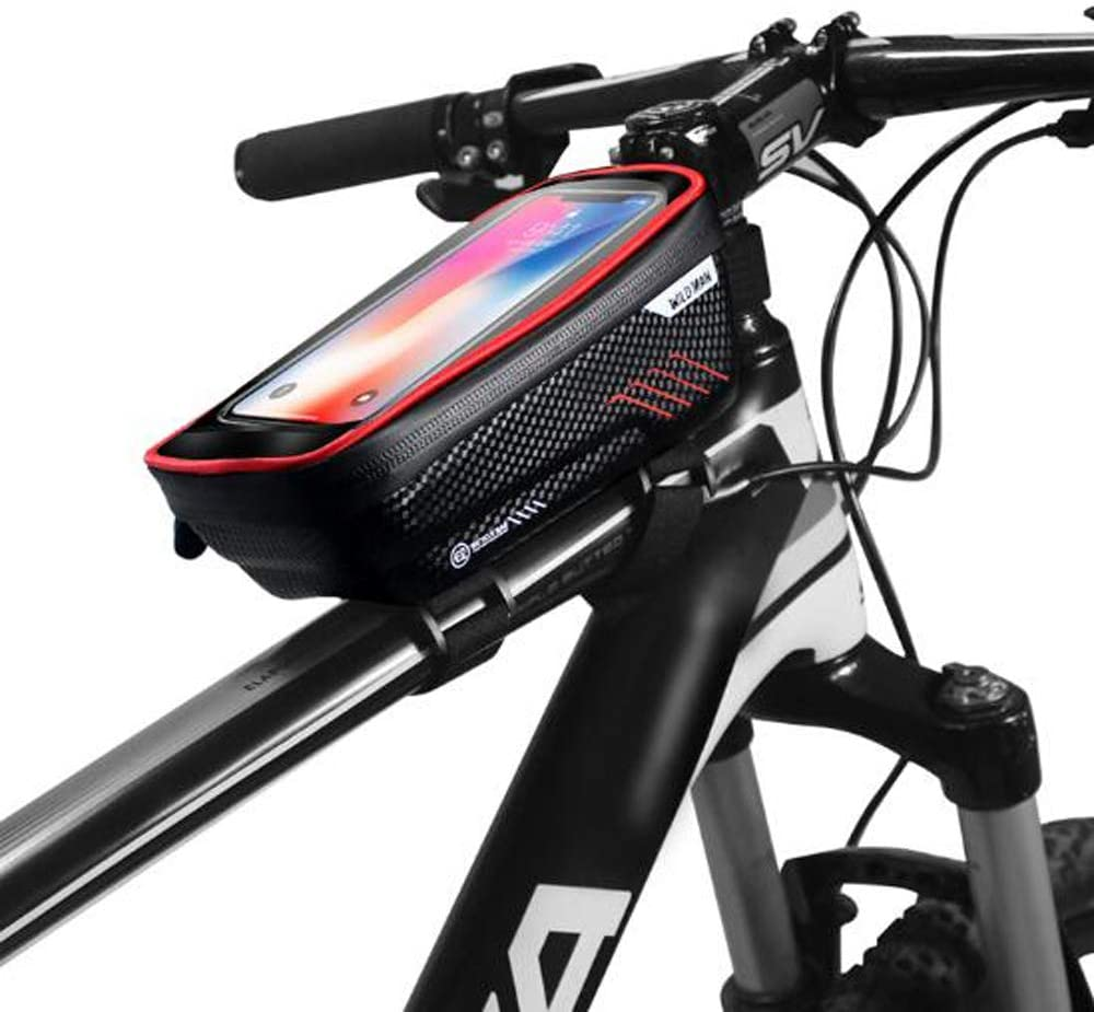 Linjin Bike Phone Mount Bag,Bike Phone Front Frame Bag-Waterproof Bicycle Bag Top Tube Cycling Phone Mount Pack with Touch Screen Sun Visor Large Capacity Phone Case for Cellphone