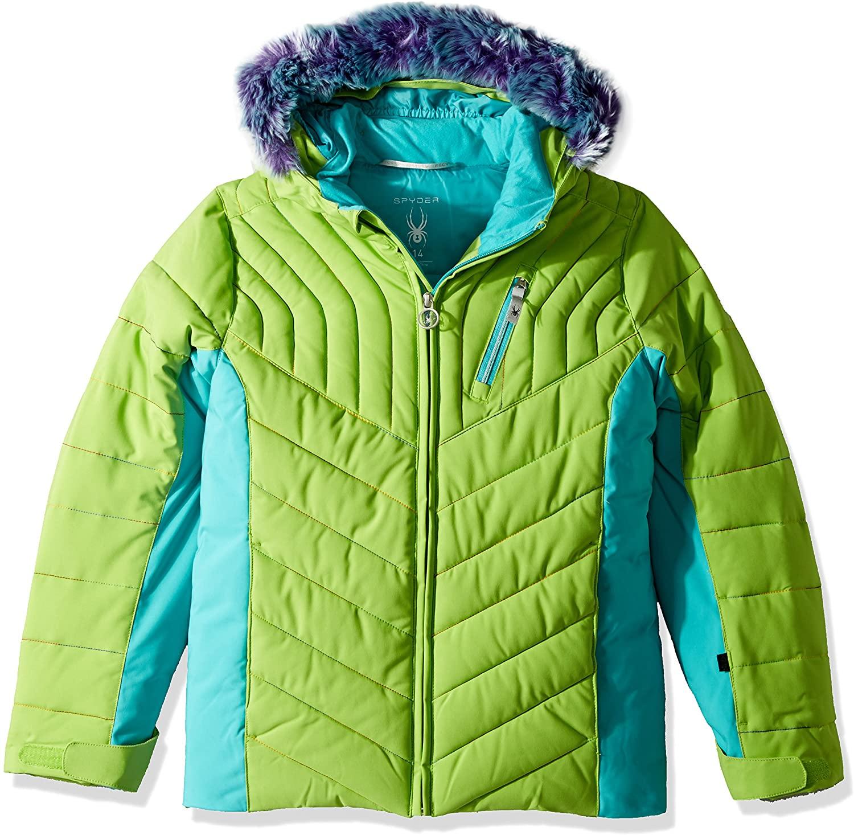 Spyder Girls Hottie Faux Fur Ski Jacket, Fresh/Baltic, Size 16