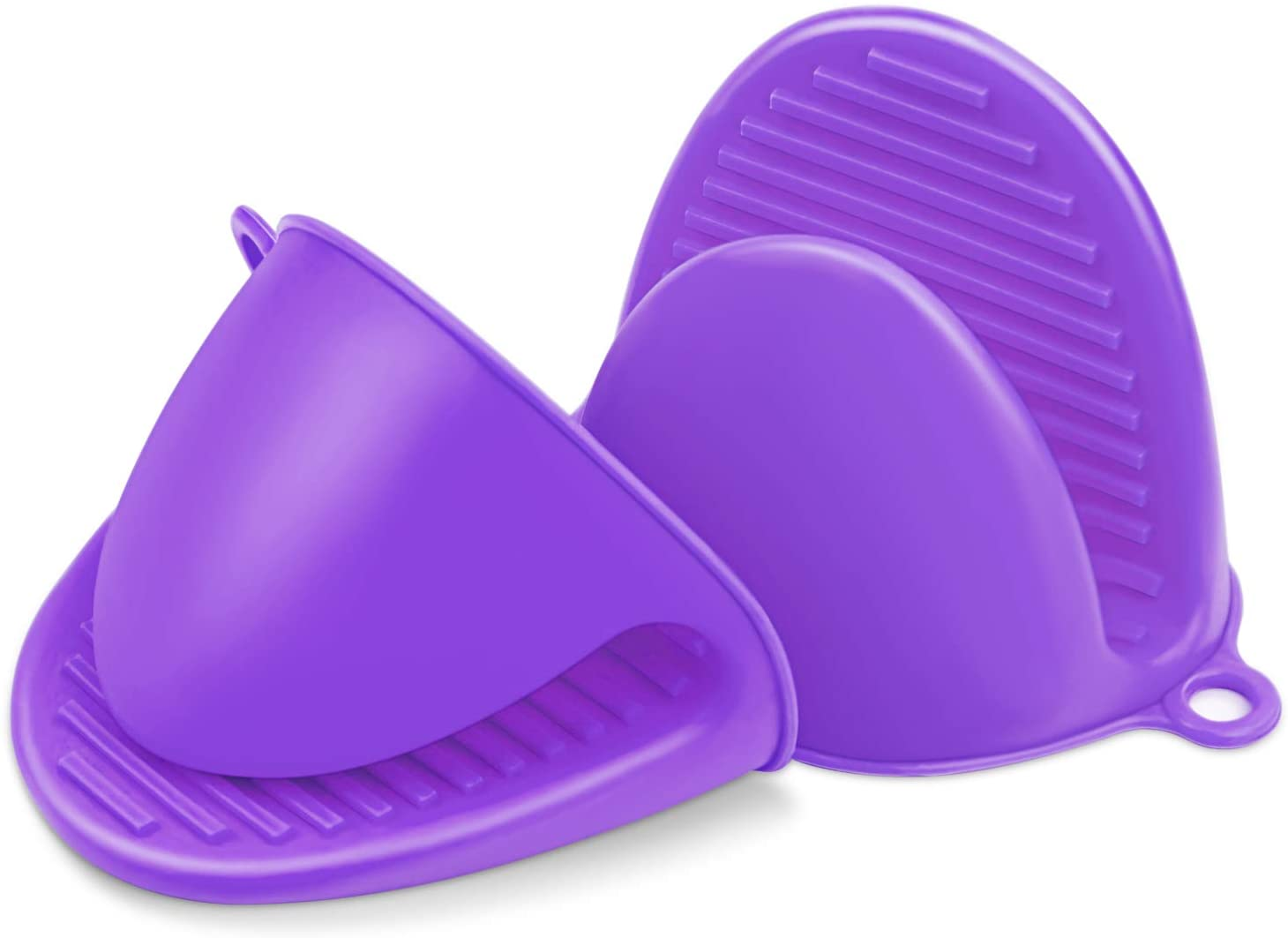 ZXFYE Silicone Cooking Gloves Silicone Pot Holder Mitts Heat Insulation Finger Protector Pinch Grips Kitchen Heat Resistant Gloves (1 Pair) (Purple)