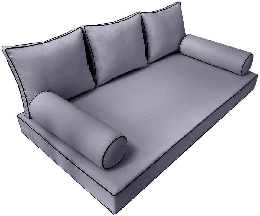 MH GLOBAL Style3 6PC Contrast Pipe Daybed Matress Cushion Bolster Pillow Complete Set Twin Size AD001