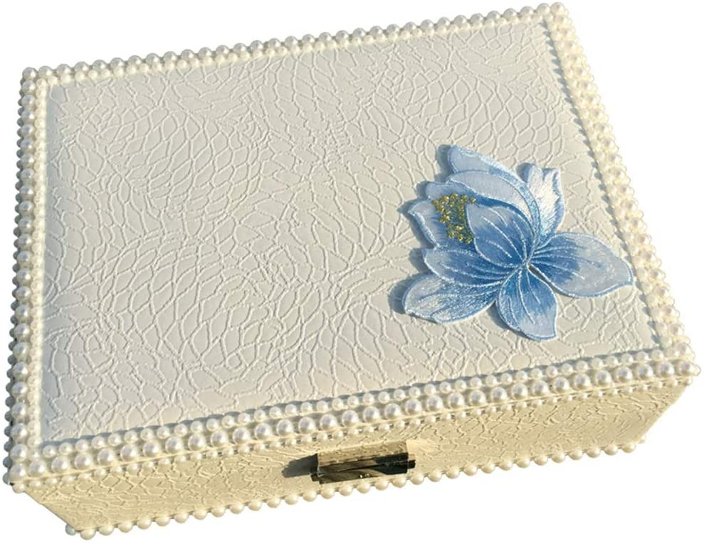 Embroidered Flower Jewelry Box Retro Chinese Style Lock Jewelry Storage Box (Color : White, Size : 23×17.5×8cm)