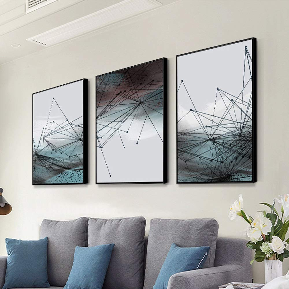 Xihouxian Abstract Lines, Modern Minimalist Style, Interior/Porch Hangings, Black PS Photo Frame, Weak Solvent Ink, Waterproof and Fade Resistant, A Set of Three D10 (Size : 30X40cm)