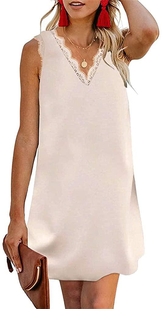 Paixpays Women Lace Trim V-Neck Sling Dress Straight Loose Short Skirt Mini Dress Apricot 3XL