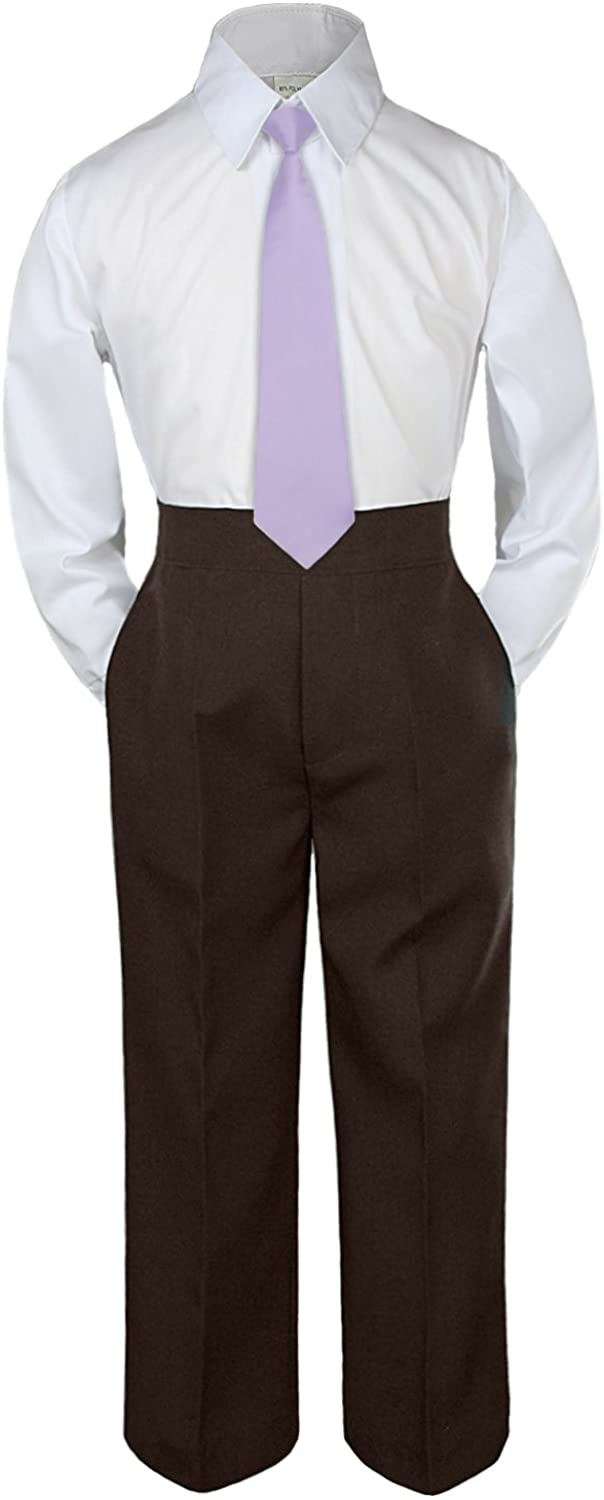 Leadertux 3pc Formal Baby Toddler Boys Lilac Necktie Brown Pants Suits Sets S-7