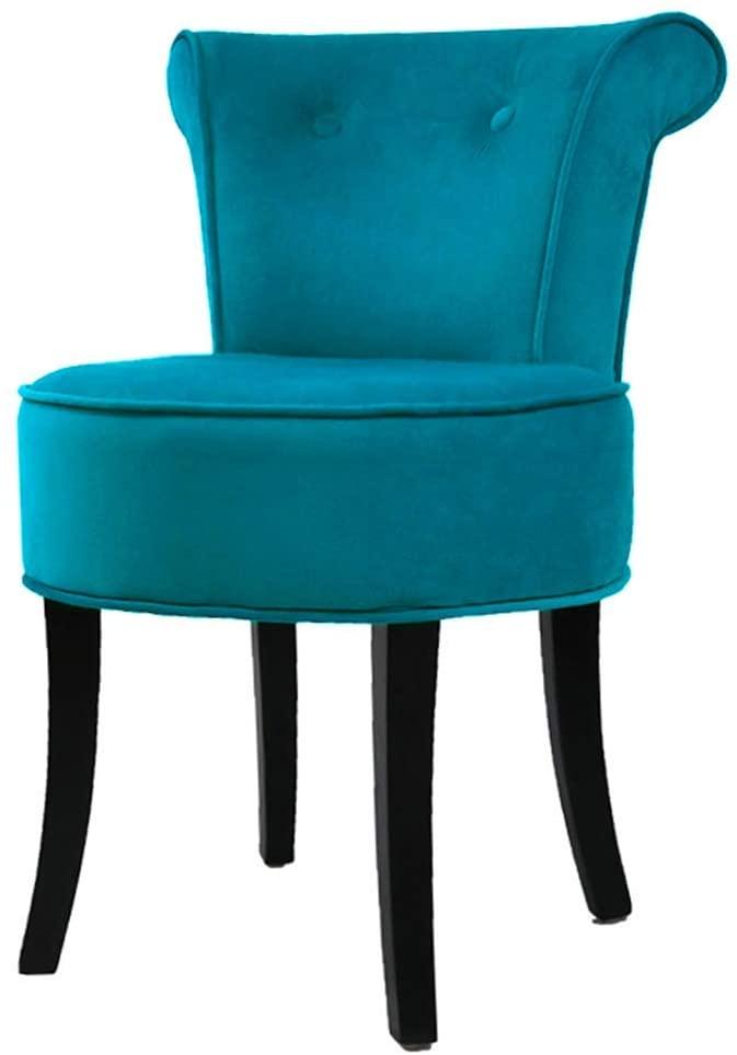 GWW Chair European Retro Vanity Stool, Padded Bench Makeup Dressing Chair, Bedroom Upholstered Velvet Backrest Chair with Solid Wood Legs, Sitting 44cm
